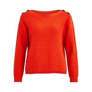 Пуловер с воротником-лодочка VILA. Цвет: красный