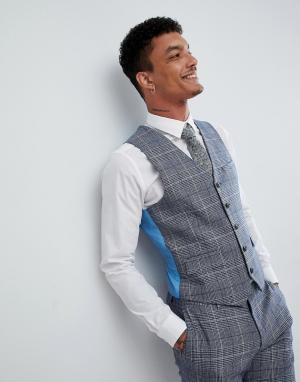 Клетчатый жилет узкого кроя из ткани с добавлением шерсти Wedding-Голубой Harry Brown
