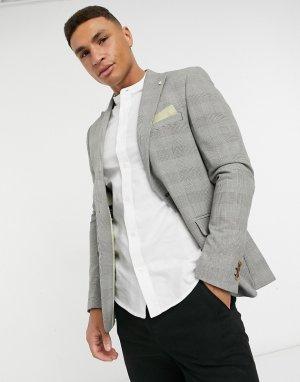 Светло-серый пиджак зауженного кроя в клетку из переработанного материала Burton Menswear