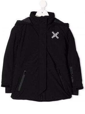 Пальто с капюшоном и логотипом Kenzo Kids. Цвет: черный