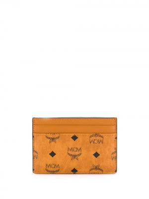 Картхолдер с логотипом MCM. Цвет: коричневый