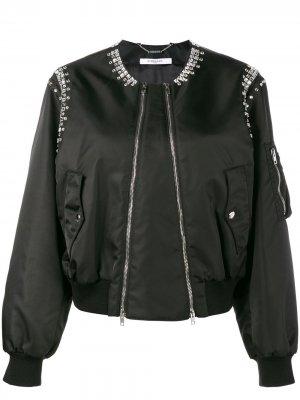 Куртка-бомбер декорированная кристаллами Givenchy. Цвет: 001черный