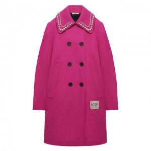 Двубортное пальто N21. Цвет: розовый