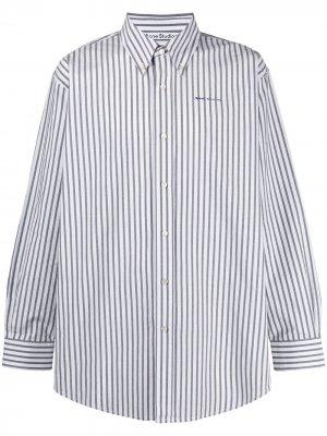 Полосатая рубашка на пуговицах Acne Studios. Цвет: белый
