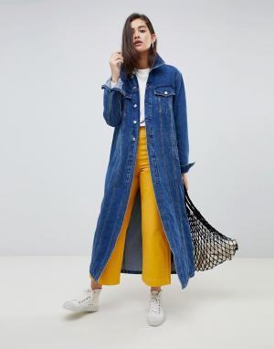 Удлиненная джинсовая куртка Kings Of Indigo. Цвет: синий