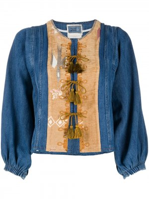 Джинсовая куртка с кисточками Forte. Цвет: синий