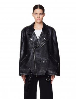 Черная кожаная куртка-пончо Maison Margiela
