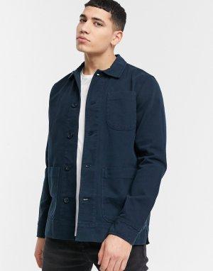 Темно-синяя рубашка навыпуск из органического хлопка -Темно-синий Knowledge Cotton Apparel