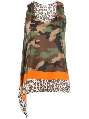 Топ без рукавов с камуфляжным принтом P.A.R.O.S.H.. Цвет: коричневый