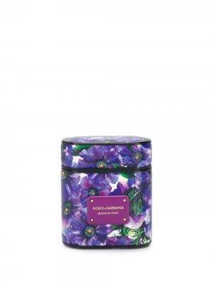 Чехол для Airpods с цветочным принтом Dolce & Gabbana. Цвет: фиолетовый