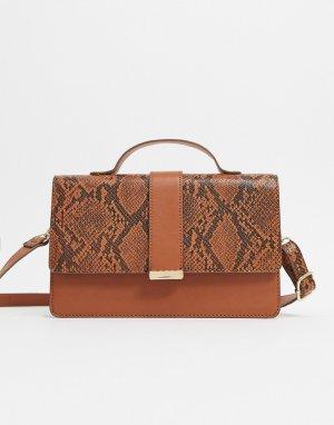 Светло-коричневый портфель со змеиным рисунком на вставках ASOS DESIGN