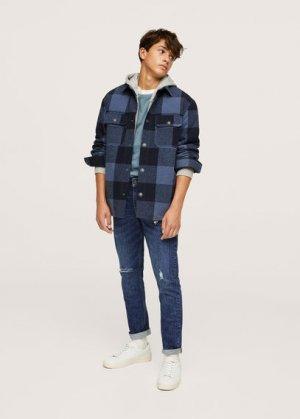 Нарочно рваные джинсы slim-fit - Slimrtb Mango. Цвет: темно-синий