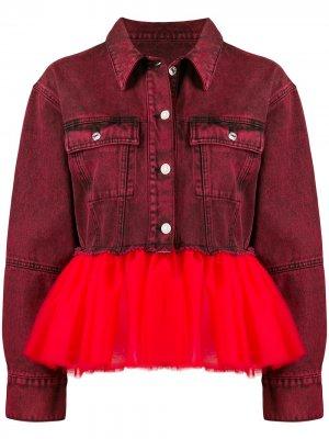 Джинсовая куртка с подолом из тюля Brognano. Цвет: красный