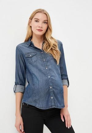 Рубашка джинсовая Мамуля красотуля ..в ожидании чуда. Цвет: синий