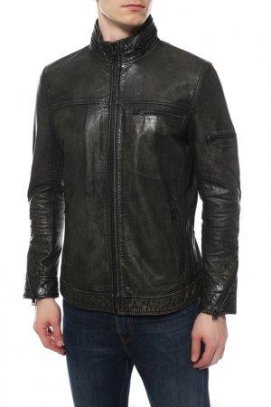 Кожаная куртка REDSKINS. Цвет: темно серый
