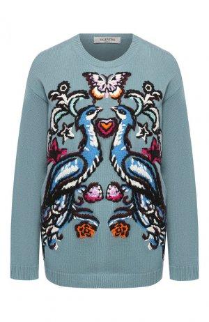 Кашемировый пуловер Valentino. Цвет: голубой