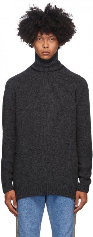 Grey Merino Wool & Cashmere Pearlpad Turtleneck Bless. Цвет: dark grey