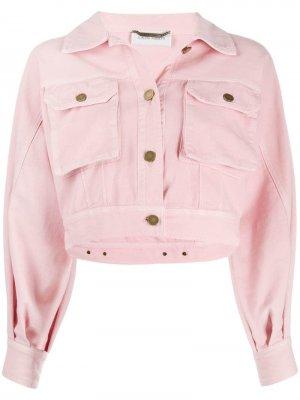 Укороченная джинсовая куртка Alberta Ferretti. Цвет: розовый