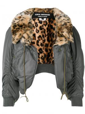 Куртка бомбер с леопардовым воротником Junya Watanabe Comme Des Garçons. Цвет: зелёный