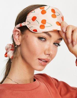 Эксклюзивный комплект из маски для сна и тканевой резинки волос с принтом вишен -Многоцветный Y.A.S