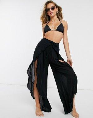 Черные пляжные брюки с разрезами и поясом -Черный ASOS DESIGN