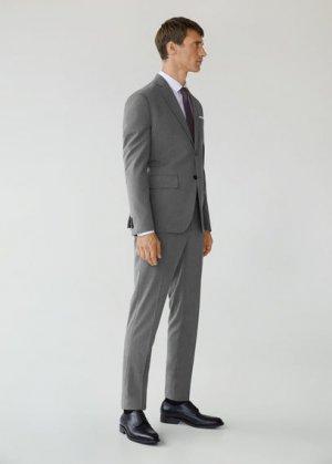 Костюмные брюки slim fit с мелкой фактурной выделкой - Brasilia Mango. Цвет: серый