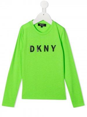 Футболка с длинными рукавами и логотипом Dkny Kids. Цвет: зеленый