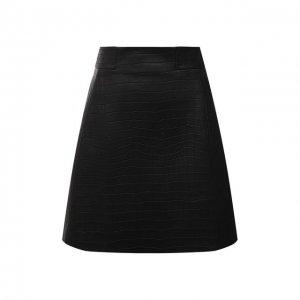 Кожаная юбка DROMe. Цвет: чёрный