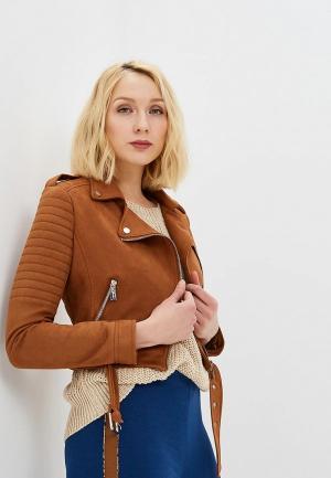 Куртка кожаная Rinascimento. Цвет: коричневый
