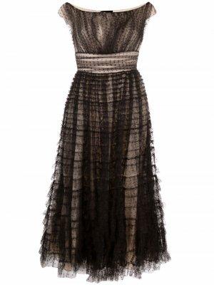 Платье А-силуэта с вырезом-лодочкой Giambattista Valli. Цвет: черный