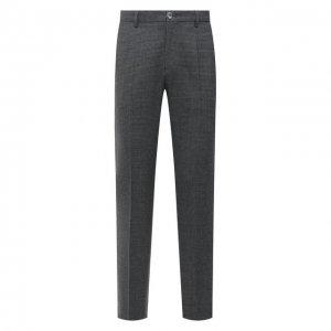 Шерстяные брюки BOSS. Цвет: серый