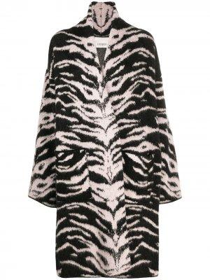 Пальто с зебровым принтом Laneus. Цвет: черный