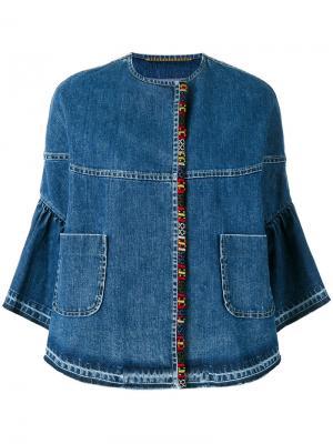 Джинсовая куртка с укороченными рукавами Bazar Deluxe. Цвет: синий