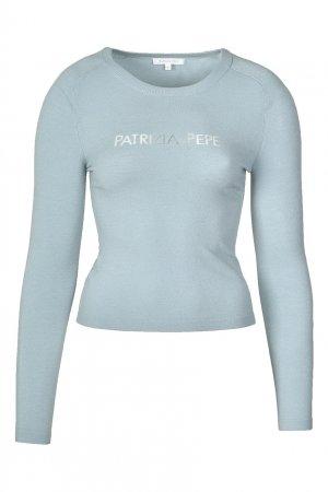Светло-голубой пуловер с прозрачными полосками Patrizia Pepe