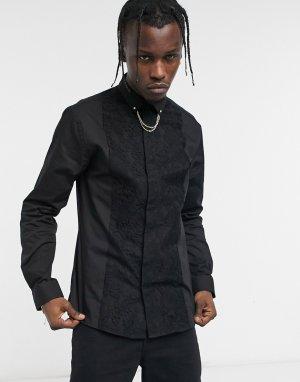 Черная рубашка под смокинг с цепочкой на воротнике -Черный Twisted Tailor
