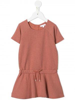 Платье с приспущенной талией на кулиске Chloé Kids. Цвет: розовый