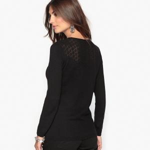 Пуловер оригинальный, 10% шерсти ANNE WEYBURN. Цвет: экрю