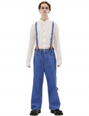 Голубые хлопковые брюки с подтяжками Junya Watanabe