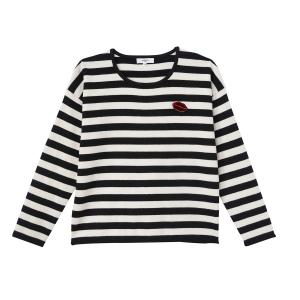 Пуловер с круглым вырезом, в полоску, PELITA SUNCOO. Цвет: в полоску белый/ черный
