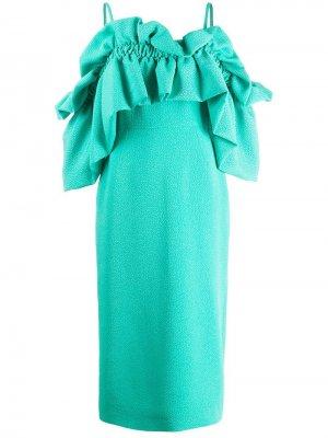 Платье с открытыми плечами и оборками Edeline Lee