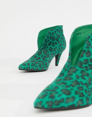 Ботильоны на каблуке с леопардовым принтом Sofie Schnoor. Цвет: зеленый