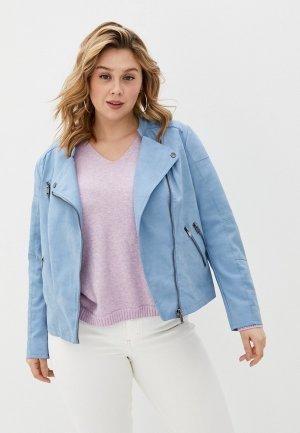 Куртка кожаная Only Carmakoma. Цвет: голубой