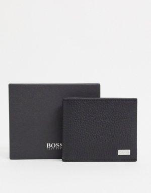 Черный кожаный кошелек BOSS