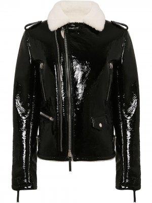 Глянцевая байкерская куртка Giuseppe Zanotti. Цвет: черный
