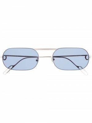 Солнцезащитные очки в овальной оправе Cartier Eyewear. Цвет: серебристый
