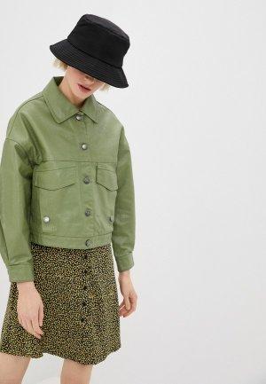 Куртка кожаная Aaquamarina. Цвет: зеленый