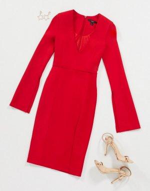Красное платье с V-образным вырезом и разрезами -Красный AQAQ