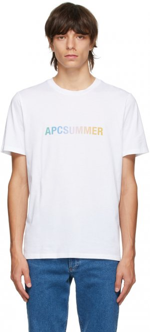 White & Multicolor Viktor T-Shirt A.P.C.. Цвет: aab white