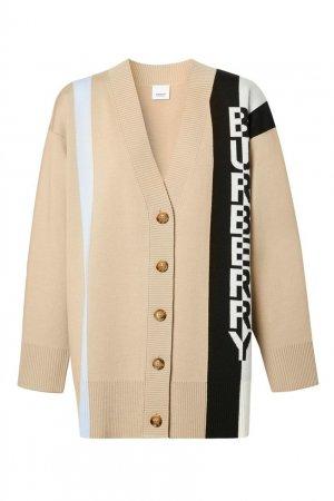 Бежевый шерстяной кардиган с полосами и логотипом Burberry. Цвет: бежевый