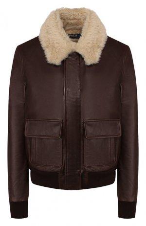Кожаная куртка Polo Ralph Lauren. Цвет: коричневый